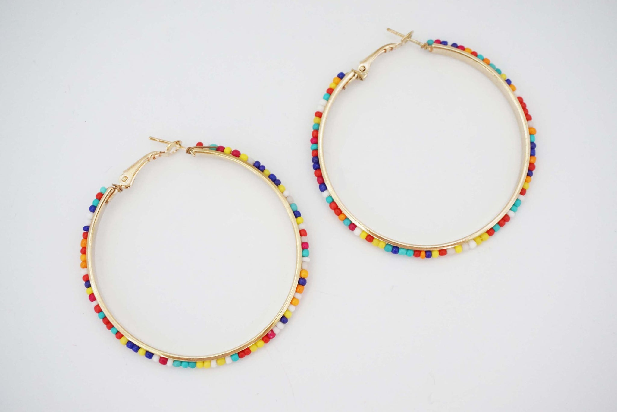 Multicolor Beaded Hoop Earrings