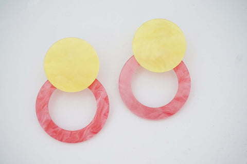 Yellow and Pink Acrylic Geometric Post Earrings
