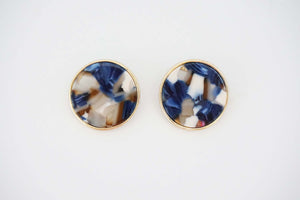 Blue Multicolor and Gold Acrylic Post Earrings