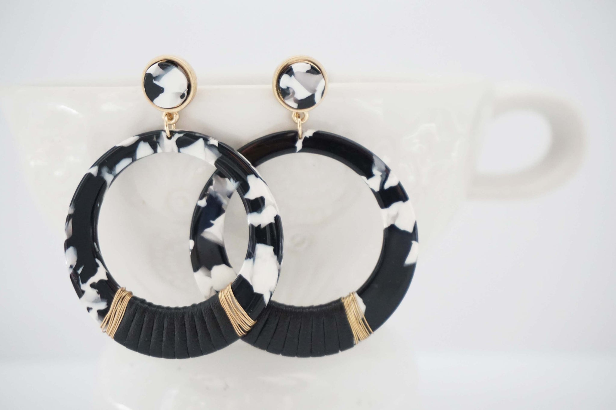 Black and White Circle Post Acrylic Statement Earrings