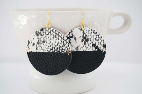 Black and White Faux Leather Circle Earrings