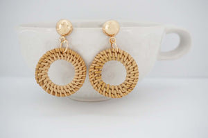Woven Wood Small Circle and Gold Post Earrings