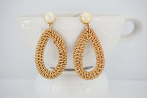 Woven Wood and Gold Post Teardrop Earrings