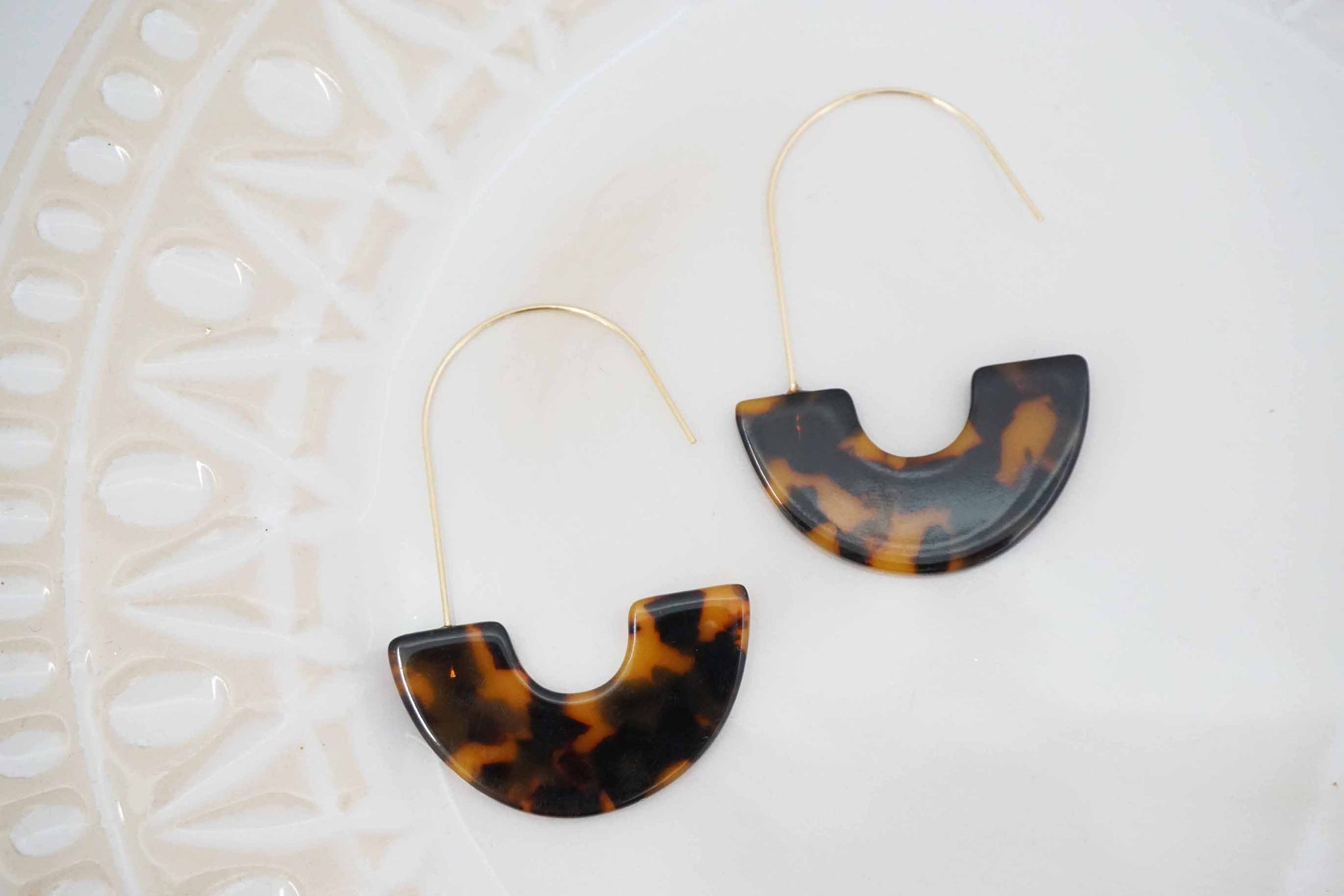 Tortoise Acrylic Statement Earrings