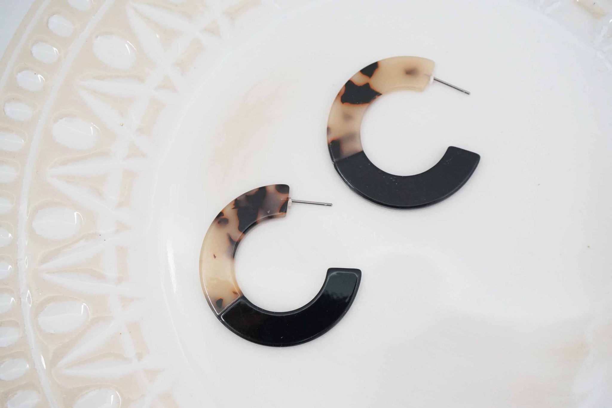 Black and White Tortoise Acrylic Hoop Earrings
