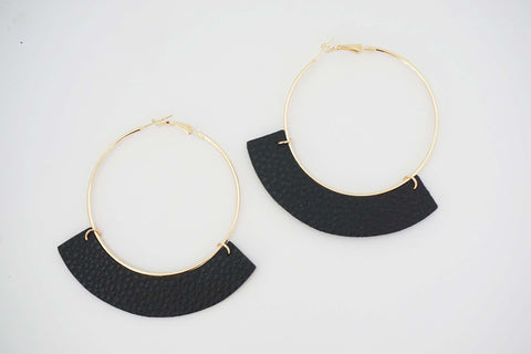 Gold Hoop and Faux Leather Earrings