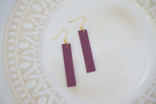 Faux Leather Bar Earrings