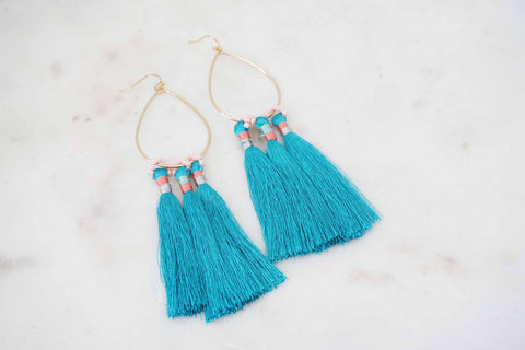 Gold Teardrop and Turquoise Tassel Earrings