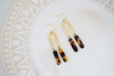 Gold Geometric and Tortoise Acrylic Tassel Earrings