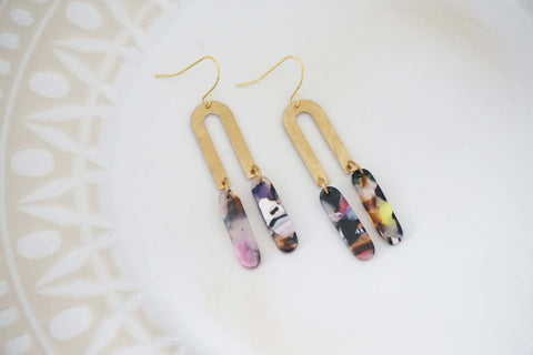 Gold Geometric and Multicolor Acrylic Tassel Earrings