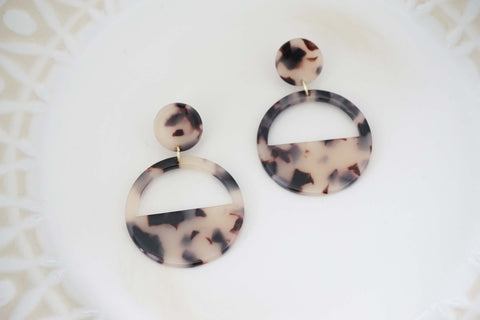Black, Brown, and Cream Acrylic Circle Hoop Post Earrings