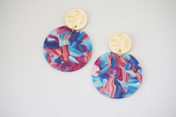 Pink and Blue Acrylic Earrings with Textured Matte Gold Post