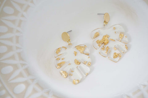Clear Acrylic and Gold Leaf Post Earrings