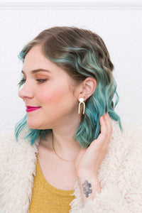 Glossy Gold Geometric Earrings