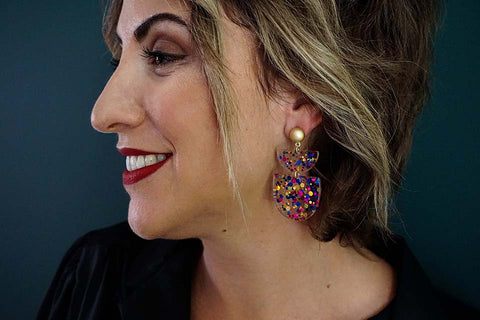 Confetti Multicolor Acrylic Post Earrings