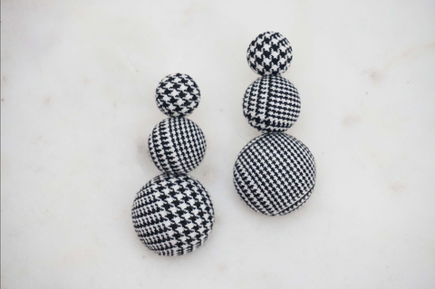 Black and White Houndstooth Statement Earrings