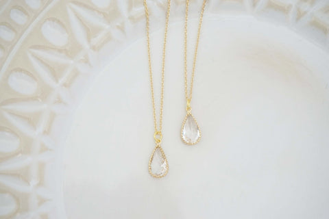 Dainty Crystal Teardrop Gem Necklace | Bridesmaid Necklaces | Wedding Jewelry |