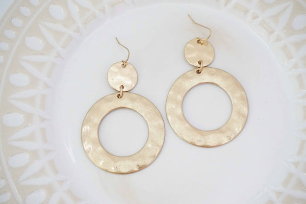 Hammered Gold Circle Pendant Earrings