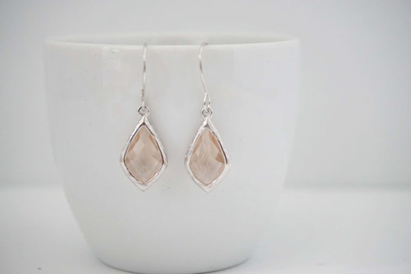 Champagne Gem Earrings | Bridesmaid Earrings | Wedding Jewelry