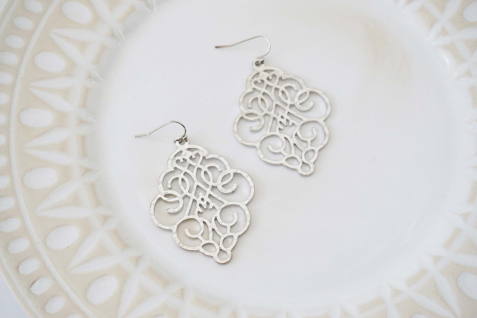 Matte Silver Scroll Pendant Earrings