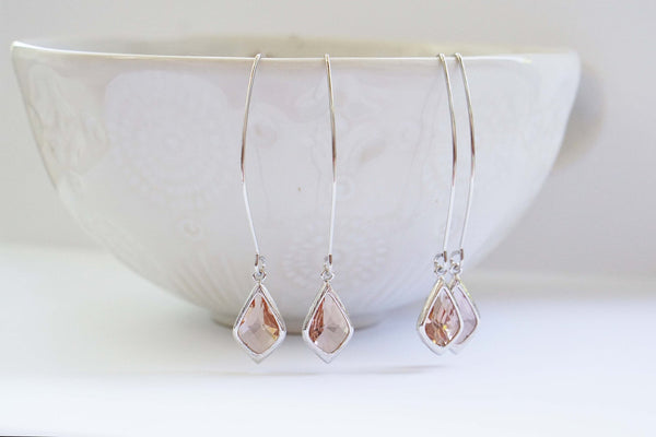 Long Hook Champagne Gem Earrings | Bridesmaid Earrings | Wedding Jewelry