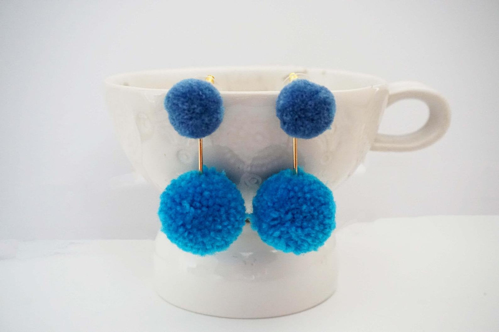 Blue Pom Pom and Gold Bar Statement Earrings