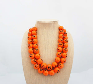 Orange Pumpkin Halloween Beaded Necklace | Halloween Jewelry | Pumpkin Necklace
