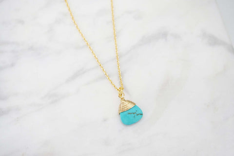 Turquoise and Gold Wire Wrap Pendant Necklace | Charm Necklace