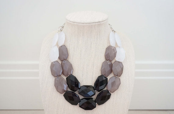 White, Grey, and Black Ombre Faceted Gem Statement Necklace
