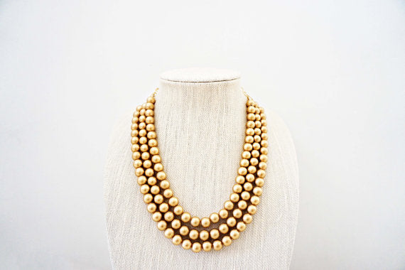 Matte Gold Three Strand Beaded Necklace