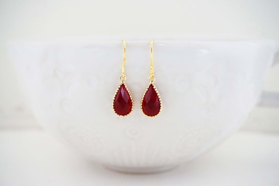 Dark Red Garnet and Gold Teardrop Earrings | Bridesmaid Earrings | Wedding Earrings