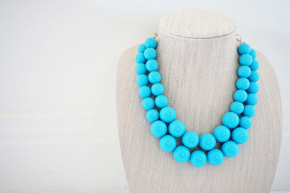 Turquoise Blue Big Beaded Necklace