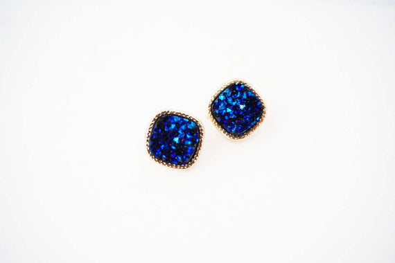 Dark Blue and Gold Druzy Square Post Stud Earrings