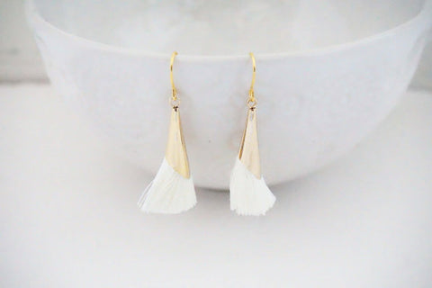 Gold Cap Cream Tassel Earrings