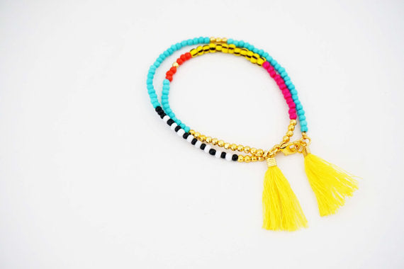 Multicolor Yellow Tassel Tribal Wrap Bracelet