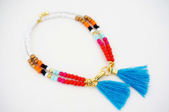 Multicolor Blue Tassel Tribal Bracelet