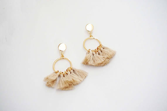 Hoop Post Tassel Earrings