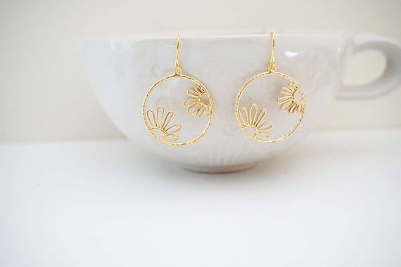 Matte Gold Floral Circle Earrings