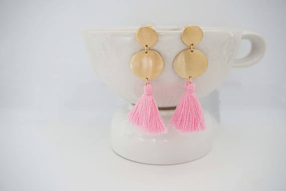 Matte Gold Circle Post Tassel Earrings