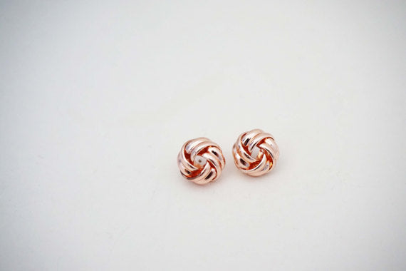 Glossy Rose Gold Knot Earrings
