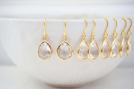 Crystal Teardrop Gem Earrings | Bridesmaid Earrings | Wedding Jewelry