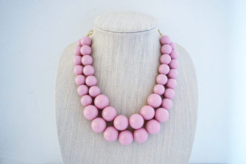 Blush Pink Big Beaded Necklace