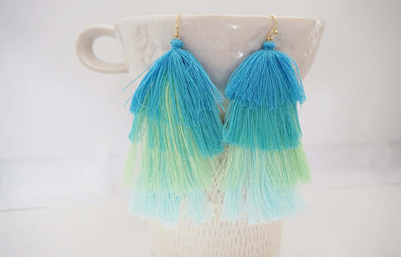 Tier Tassel Statement Earrings