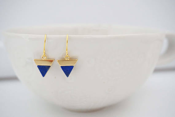 Blue Lapis and Gold Earrings