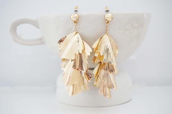 Glossy Gold Statement Earrings