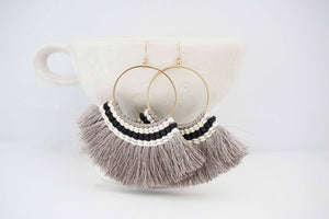 Embroidered Fan Tassel Earrings