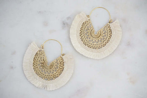 Tassel Hoop and Gold Pattern Earrings