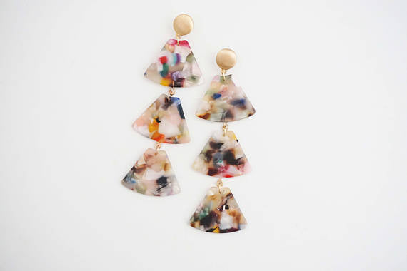 Multicolor Acrylic and Gold Earrings