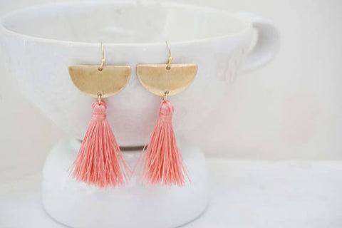 Gold Half Moon Tassel Earrings