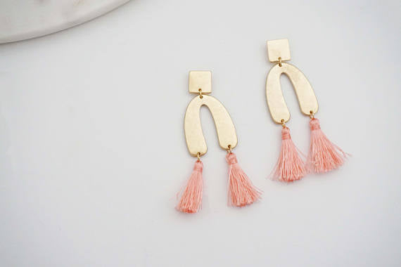 Matte Gold and Tassel Geo Post Stud Earrings